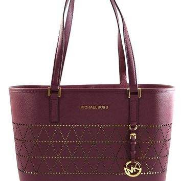 MICHAEL Michael Kors Women's Jet Set Travel Carry All Medium TOTE Leather Handbag