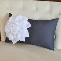 Grey Pillows - White Dahlia on Charcoal Gray Lumbar Pillow - Decorative Pillow -