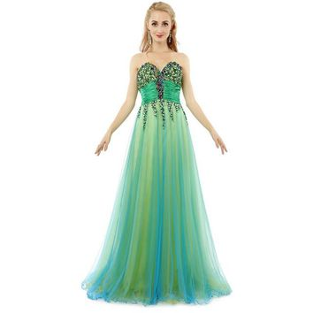 Colorful Long Beaded Evening Dress Tulle Party Dress Zipper Evening Dress