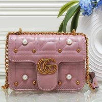 Gucci Women Pearl Bag Fashion Leather Satchel Shoulder Bag Crossbody Pink