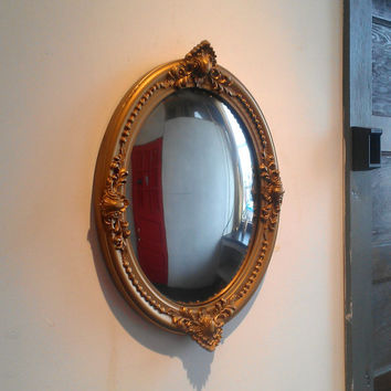 Gold Convex Mirror in Antique Wood and Gesso Frame, 22 by 17 Inch Ornate Oval Frame, Victorian Wall Decor
