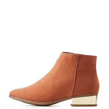 Bamboo Faux Suede Metallic Heel Ankle Booties | Charlotte Russe