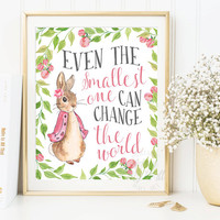 Peter Rabbit Nursery Prints, Baby Shower, Beatrix Potter quote, Baby Girl, Nursery Wall Art, Nursery Decor, Peter Rabbit Print,