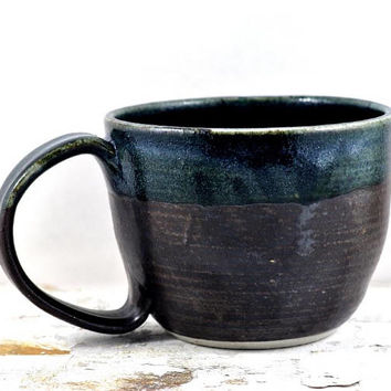 Large Coffee Cup Soup Mug Ceramic Handmade Pottery Black Tea Cup by Dawn Whitehand on Etsy