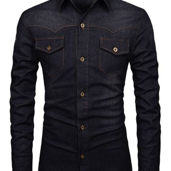 Men's Modern Fit Stretchy Daily Washed Denim Long Sleeve Button Up