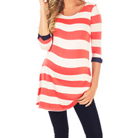 PinkBlush Maternity PinkBlush Coral Stripe Maternity Scoop Neck Tunic - Women | zulily