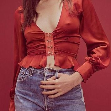 Red Plunge Ruffle Hem Puff Sleeve Women Crop Shirt