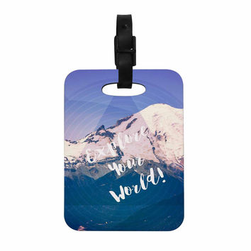 "Robin Dickinson ""Explore Your World!"" Blue Purple Decorative Luggage Tag"