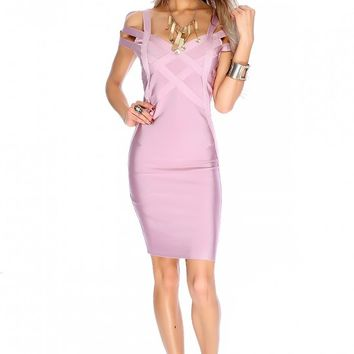 Sexy Mauve Sleeveless Strappy Cut Out Bodycon Party Dress