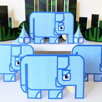 Printable paper toy craft activity. Instant download. Flat Ed Jungle Elephant! Make you own cards, banners and elephant bunting!