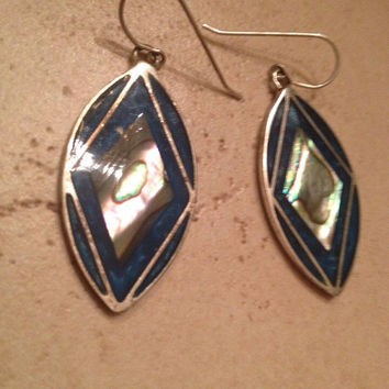 Vintage Mexican Earrings  Alpaca Silver Blue Abalone Inlay Dangle Mexico Jewelry