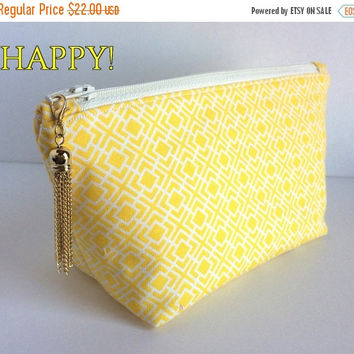 SALE Small Yellow Makeup Bag, Yellow Cosmetic Bag, Yellow Zipper Pouch, Small Zipper Bag