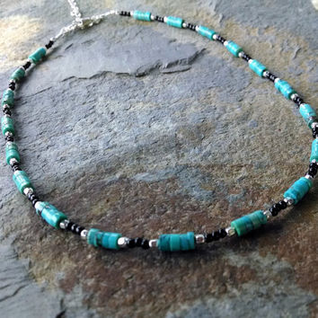 Genuine Turquoise and sterling silver beaded choker, turquoise choker, simple beaded choker, gemstone choker, layering necklace,