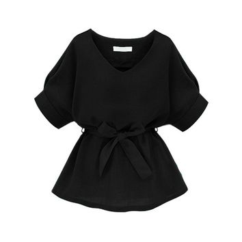 Womens Tops and  Summer Ladies Black Half Sleeve V Neckline Self Tie Peplum