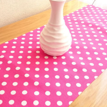 NEW!! Fushia Large Polka-Dot Table Runner, Modern Table Runner, Colorful Table Cover, Duck Tablecloth, Cotton Table Runner