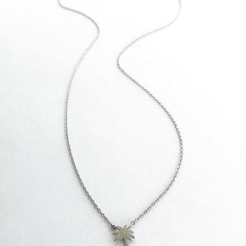Dainty Silver Palm Charm Necklace