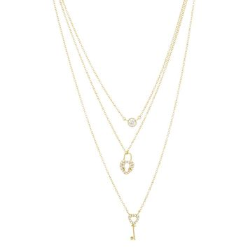 Gold Over Sterling Silver Multi Strand Heart Lock and Key Necklace