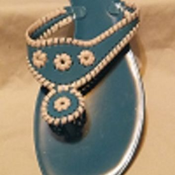 Turquoise and White Flat Flip Flop Sandal by Bamboo