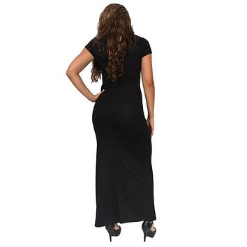 Gorgeous Women's Maxi Dress Short Sleeve V-Neck