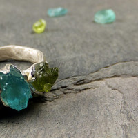 Raw Rough Uncut Apatite Peridot  Three Gemstone Statement ring Cocktail Ring Recycled Sterling Silver Gemstone Ring
