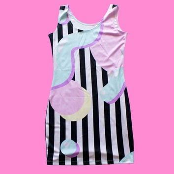 memphis stripe dress XS - 3XL | kawaii pastel harajuku grunge 90s 80s plus size aesthetic tumblr bodycon