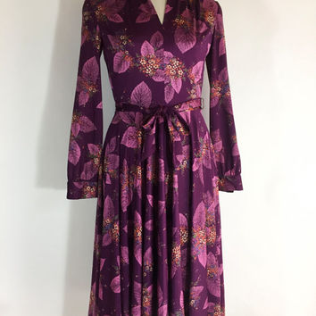 Vintage Dress Purple Dress Flower Dress Polyester Dress 1960s Dress Purple Pink Flower Dress Leaf Dress Secretary Dress Floral Dress Fall