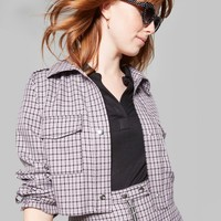 Women's Plaid Cropped Shirt Jacket - Wild Fable™ Violet