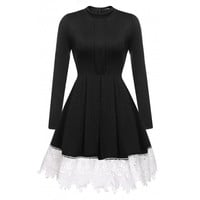 Women's Stand Neck Long Sleeve Lace Trim Pleated Skater Party Dress