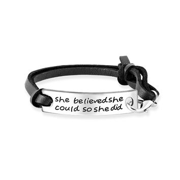 Stumkpunk Black Leather Letter She Believed She Could So She Did Inspiration ID Bar Bracelets For Friends Gift Hand Jewelry