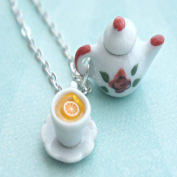Rose Tea Set Necklace