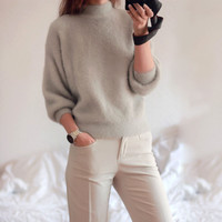 2016 new winter casual Lantern sleeve loose thick pullover female turtleneck solid ladies' sweater women
