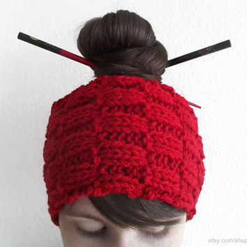 Chunky red headband, textured hand-knit head wrap, can also be worn as a collar, wool ear warmer, small cowl, gift, bright red accessory