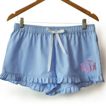 Monogram Blue Cotton Cute Shorts -Custom Ruffle Lounge Shorts -Personalized Bridesmaid Gift -Pajama Shorts -Ladies Sleep Wear -Gift For Her