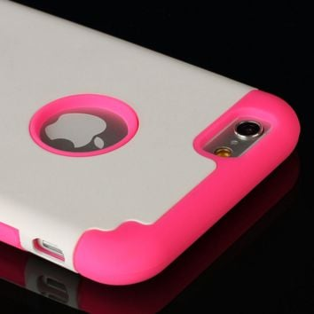 "Hot Pink iPhone 6 4.7"" Hard & Soft Rubber Hybrid Armor Impact Defender Skin Case Cover"