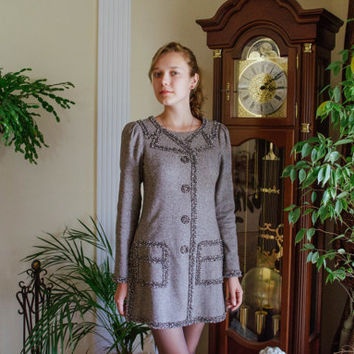 Tweed Shift Dress / Grey & Brown Wool Long Sleeve Tunic with Sequins and Beads Front Detail / Shimmer Mod Fitted Mini Dress