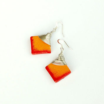 Square red and orange dangle earrings with fishook earwires. Handmade colorful jewelry for spring.