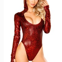 Red Hooded Mesh Bodysuit