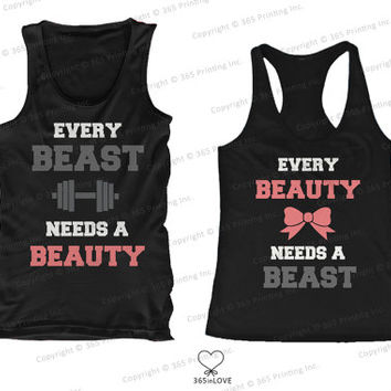 Cute Matching Beauty and Beast Need Each Other Couples Matching Tank Tops