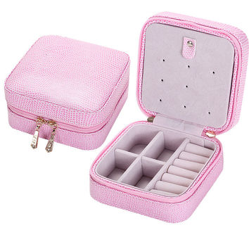 Fashion Women's Gift Mini Jewelry Box Travel Makeup Organizer Faux Leather Casket with Velvet Mirror and Zipper