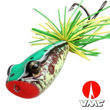 Artificial Fishing Bait Top Water Floating Fishing Lure VMC 3/0 Double Hook For Pike Bait 58MM 11.5G Frog Popper Fishing Lure