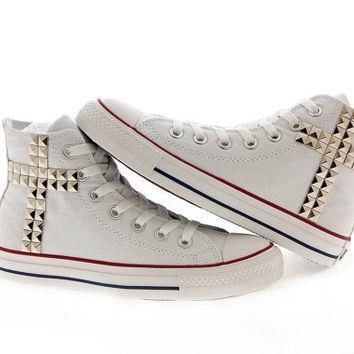 studded converse silver cross pattern studs with converse white high top by customduo