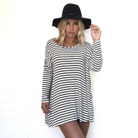 One Liner Oversize Stripe Tunic Blouse