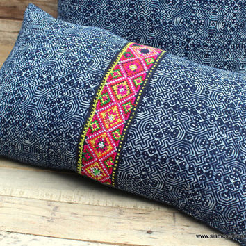 Indigo Batik Lumbar Pillow Decorative Throw Pillow Cushion Cover With Hmong Embroidery
