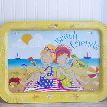 Kids Vintage Folding TV Tray, Best Friends at Beach Little Girls Folding Lap Tray 1980s 80s