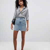 ASOS Denim Pelmet Skirt in Lightwash Blue at asos.com