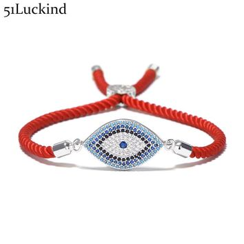 Luxury Evil Eye Micro Crystal Bracelet Red Thread String Turkey Ethnic Braclet For Women Girls Hand Lucky Turkish Jewelry
