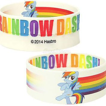 Licensed cool ONE My Little Pony RAINBOW DASH REVERSIBLE Rubber Bracelet Hasbro  SHIPPING