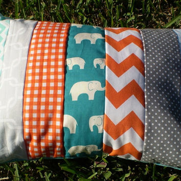 Throw pillow cover,Nursery pillow cover,woodland rustic pillow,boy or girl room throw,elephant,chevron,dots,grey,teal,orange,12 by 16inches