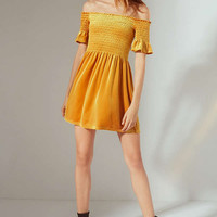 UO Clara Off-The-Shoulder Smocked Velvet Dress   Urban Outfitters