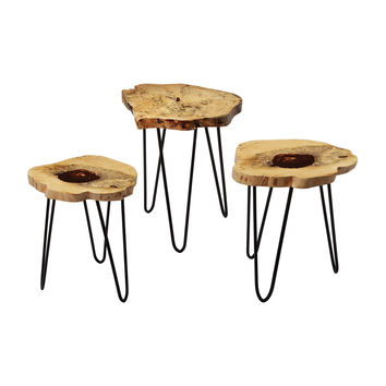 Nesting Tables Natural Teak / Bronze